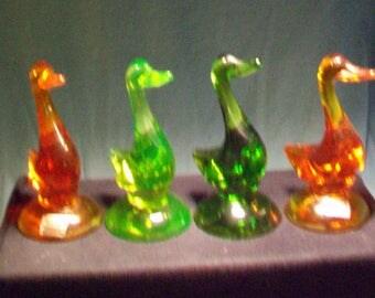 Four Viking Glass Ducks