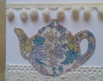 Pretty Textile Hand Made Teapot Greetings Card