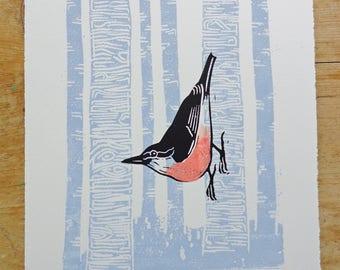 Nuthatch - Woodland Bird Original Lino Print