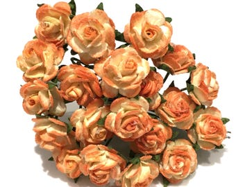 Two Tone Orange Open Mulberry Paper Roses Or126