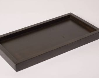 Black wooden tray for 3-soap dish
