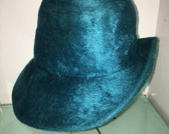 Vintage Brunschwig Velour Felted 1960s Hat Zurich Switzerland Creased Alpine Teal Fedora
