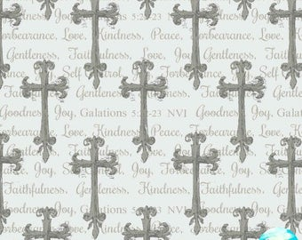 Walk By Faith Cross Allover by Christine Adolph White and Grey Cotton Fabric