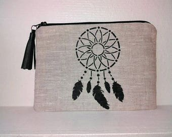 Clutch / pouch dream catcher linen with leather tassel
