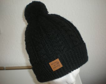 Black wool hat adult cabled hand-made in ALSACE
