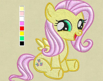 Fluttershy Embroidery Design, My Little Pony Embroidery Design, Baby Embroidery Design, Girl embroidery design, My Little Ponies