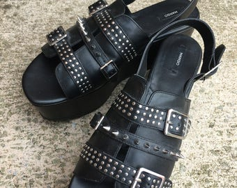Wedges, 3 Inch Studded Platforms. Going out shoes UK 7-8 Goth Emo Grundge
