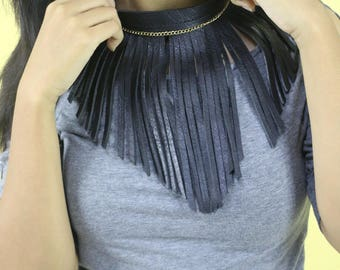 Leather Rock Chic Necklace