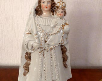 Antique Bone Chine statue Virgin Mary with Baby Jesus Christ   / Madonna  Maria porcelain
