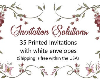 35 Printed invitations with envelopes - Add-on for custom invitation