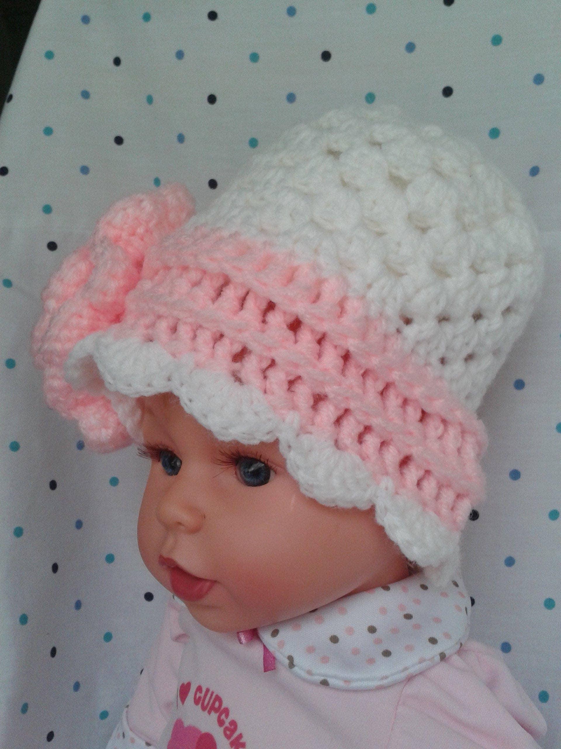 Handmade baby clothes crochet baby cap newborn girl hats
