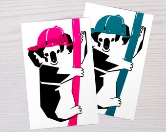 Handmade Screen Printed Postcard of Koala | Postcards Animals | Pink and Blue |