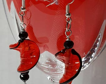 Red Leaf Earrings Silver Tone