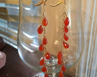 Fire Carnelian and 14k Gold Fill Earrings - Free U.S. Shipping