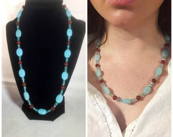 Blue chalcedony and carnelian necklace