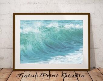 Ocean Wave Print, Beach House Decor, Modern Minimal, Aqua Blue Water Art, Water Photography, Modern Minimalist, Coastal Beach, #014