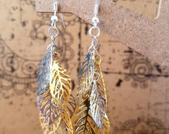 Silver and gold leaf cluster earrings