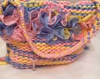 Ruffle Charm Bag Multi Coloured Hand Knitted