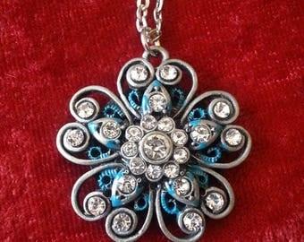 Blue swirl pendant with shungite