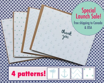 Eight Pack of Thank You Cards // Four Fun Thank You Card Designs // Polka Dot, Chevron, Anchor, Palm Tree Thank You Cards // by HulaHedgehog