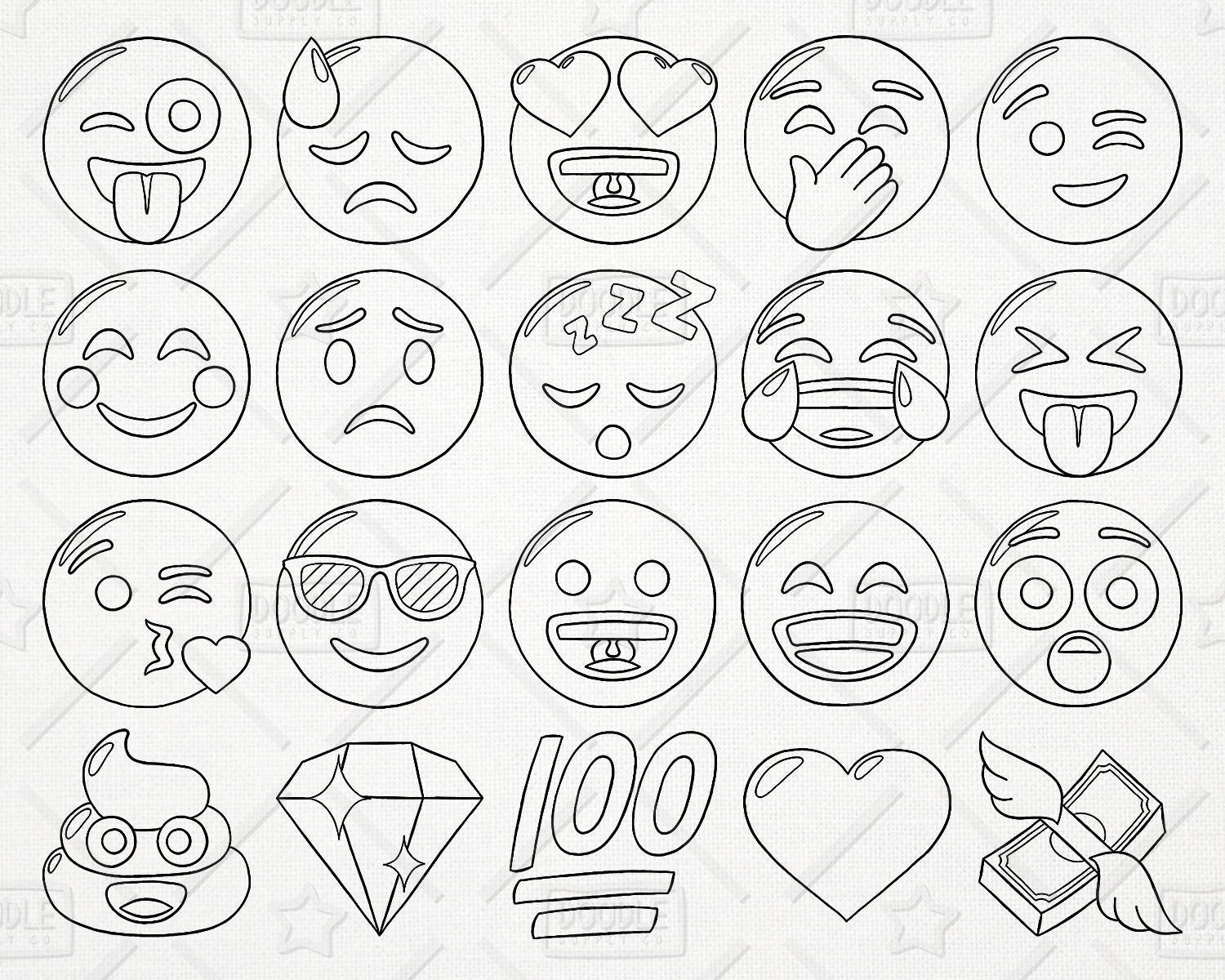 Doodle Emoji Vector Pack Smiley Faces Clipart Hand Drawn Emoji Clipart Printable Emoji Emoji ...