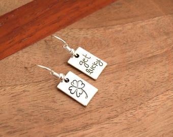 Earrings Tibetan silver clover clips silver four leaf clover good luck lucky