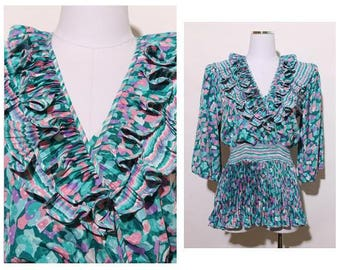 vintage 1980's 80's ruffle pleated blouse surplice pleating embossed satin top ruffly printed colorful pastel S-M
