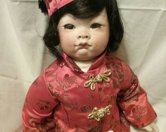 very cute hand made bisque/porcelain oriental doll 18""