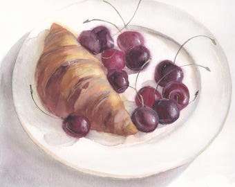 Original watercolor still life with a croissant and cherries on a white plate / Realistic food art / Cute birthday gift / Wall art decor