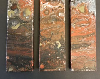 Nebula Triptych (Abstract Acrylic # 95 - part of the 'Galactic' Series)