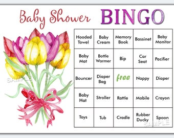 Floral baby shower bingo, flowers baby shower bingo, tulip baby shower bingo cards ,vintage baby shower Bingo Cards,