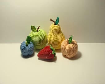 Set of  5 fruits- plum, peach, strawberry,  pear, apple, play food,Kids gift crochet toys,Handmade gifts