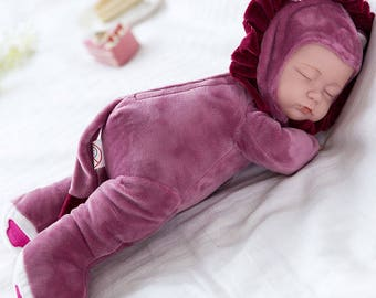 "14"" Handmade Real Looking Sleep Baby Realistic Reborn Doll Girl Vinyl Silicon Q"