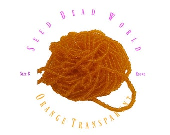 Orange Size 8 Transparent Seed Beads Clear Orange Seed Beads size 8/0