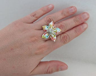 Original fabric flower Adjustable ring