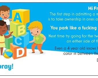 BadCards Bad Driver Parking Cards Gag Gift