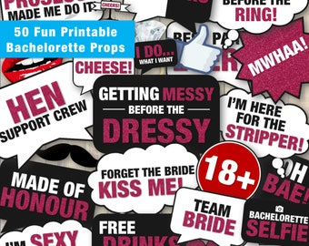 50 Fun Printable Bachelorette Party Props Hen Party Props | Funny DIY Photo Booth Speech Bubbles & Props | Instant Digital Download - PDF