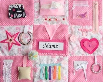 feminine fidget quilt, personalized, pink fidget blanket, busy quilt, sensory blanket, stroke rehab, nursing home, dementia gift activity