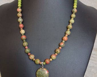 Unakite Pendant with Unakite,Black Agate & glass beads.