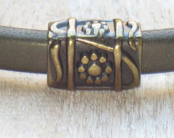 Regaliz Antique Brass Daisy Tube Spacer, Spacer Bead, Slider Bead
