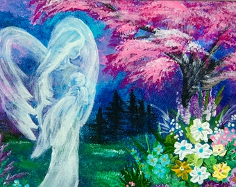 The Lullaby Angel Original Acrylic Fine Art Painting