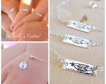Birds of a feather personalized bar bracelet, kindergarten, preschool, back to school, friendship, handstamped initial, sterling silver