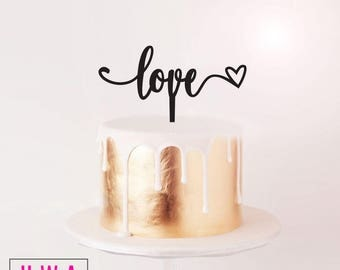 Love with heart - wedding / engagement cake topper