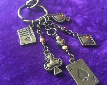 Bronze Alice In Wonderland playing cards keyring