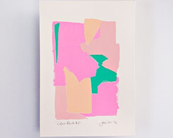 Colour Block 3 Limited Edition Screen Print Hand Printed, Neon, Fashion Wall Art, Pastel Pink, Brushstroke, Original Art, Unicorn