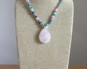 Handcrafted colorful gemstone necklace with rose quartz pendant