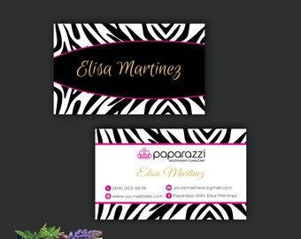 Paparazzi Business Card, Zebra business card, Custom Paparazzi Accessories Card, Fast Free Personalization, Printable Business Card PP25