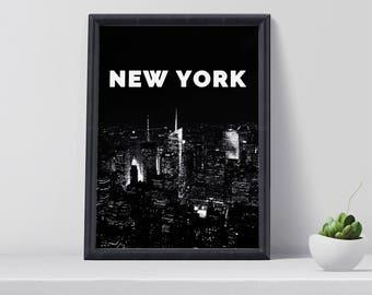 New York Print, New York Poster, City wall art, Wall Art printable, Digital Print, Home Decor, Gift for her, Black and white poster