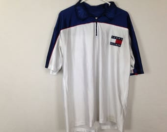 tommy hilfiger zip up collared polo size L/XL