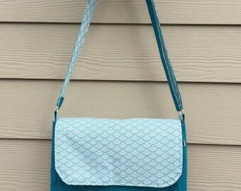 Teal thick cotton shoulder bag